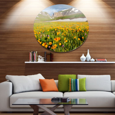 Design Art Mountain Plain with Wild Yellow FlowersDisc Floral Circle Metal Wall Decor