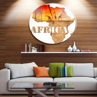 Design Art Africa Map Wooden Illustration AbstractMetal Artwork