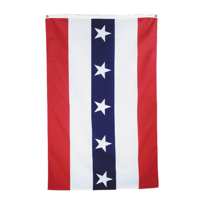 Patriotic Fan Flat Style PFF-282 with Printed Stars and Sewn Stripes Indoor Outdoor Cotton Sheeting Canvas Heading Grommets Top 4' X 6'