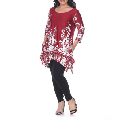 White Mark Yanette Womens Tunic Top-Plus