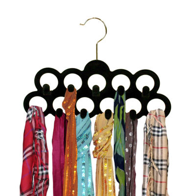Home Basics Velvet Scarf Hanger with Hooks, Pack of 3