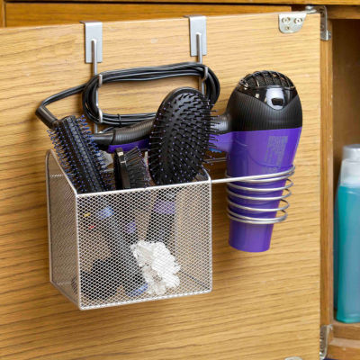 Home Basics Steel Over the Cabinet Hairdryer Organizer Silver