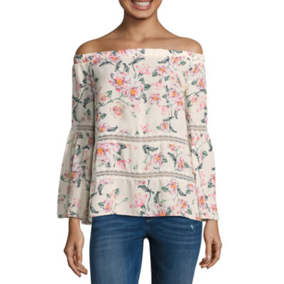 Belle + Sky Off The Shoulder 3/4 Sleeve Lace Inset Top
