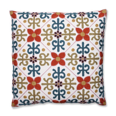 Pillow Perfect Quatrefoil 18-inch Embroidered Throw Pillow