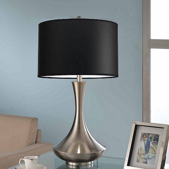 Tenbury Wells Collection Aladdin Contemporary 30-inch Brushed Steel Compact Fluorescent Table Lamp with Black Shade