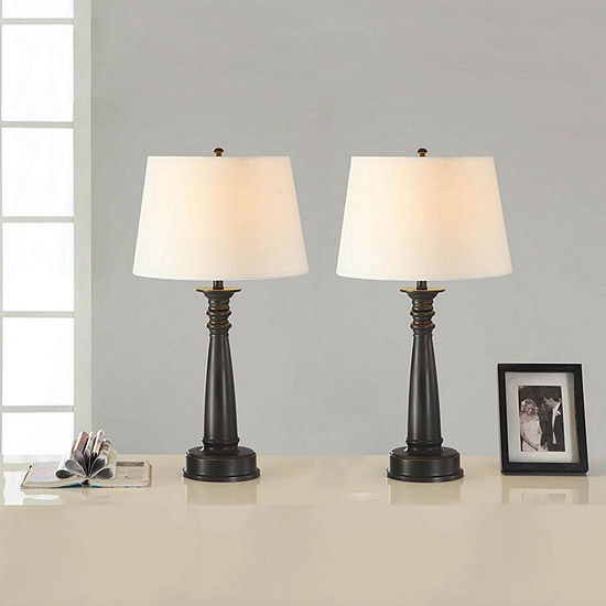 Tenbury Wells Collection 28 Inch Classic Antique Bronze Finished Table Lamp With Handpainted Gold Tracing Set Of 2