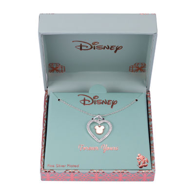 Disney Womens Crystal Pure Silver Over Brass Mickey Mouse Pendant Necklace