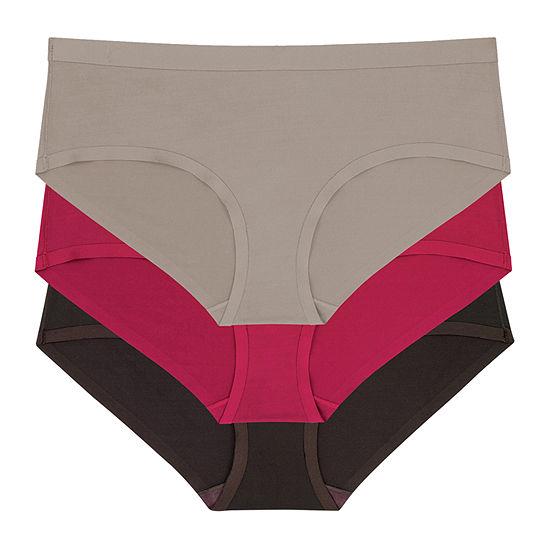 Dorina Jane 3-pc Fully Bonded Satin Contrast Hipster Panty