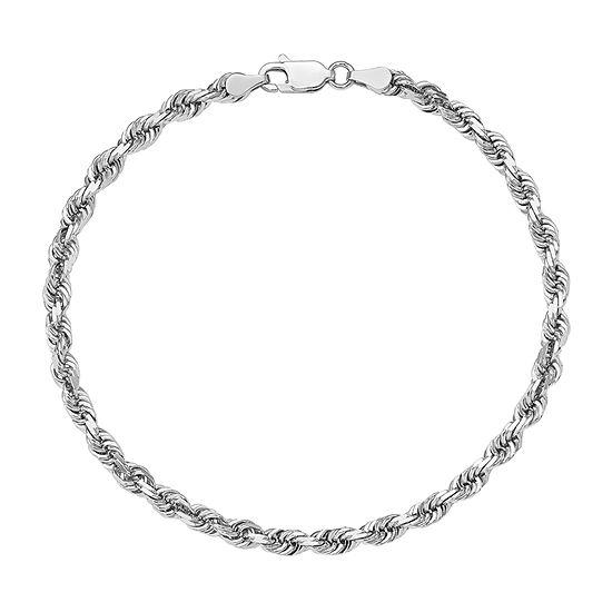 14k White Gold 7 Inch Rope Chain Bracelet