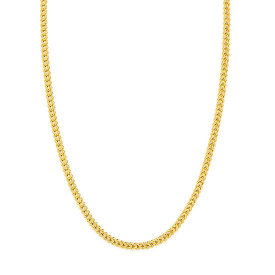 14K Gold 22 Inch Hollow Wheat Chain Necklace