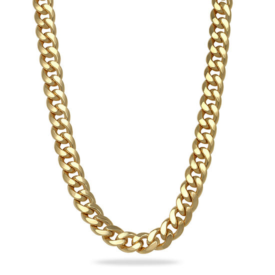 14K Gold 24 Inch Semisolid Curb Chain Necklace