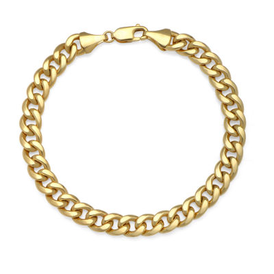 14K Gold 9 Inch Semisolid Curb Chain Bracelet