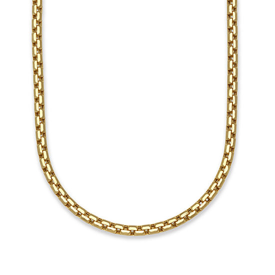 14K Gold 22 Inch Hollow Box Chain Necklace