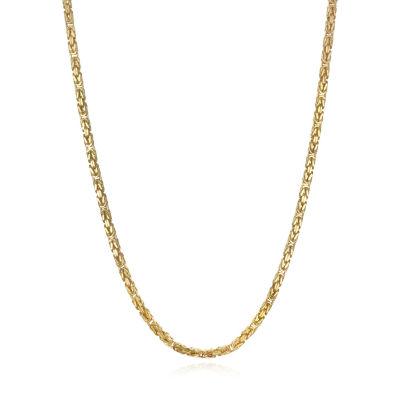 14K Gold 22 Inch Semisolid Byzantine Chain Necklace