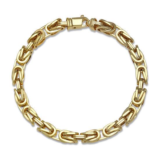 10K Gold 9 Inch Hollow Byzantine Chain Bracelet