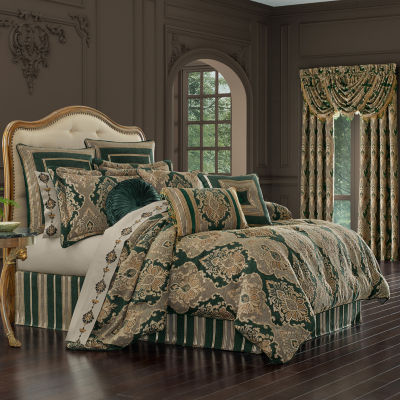 Queen Street Emmett 4-pc. Damask + Scroll Midweight Comforter Set