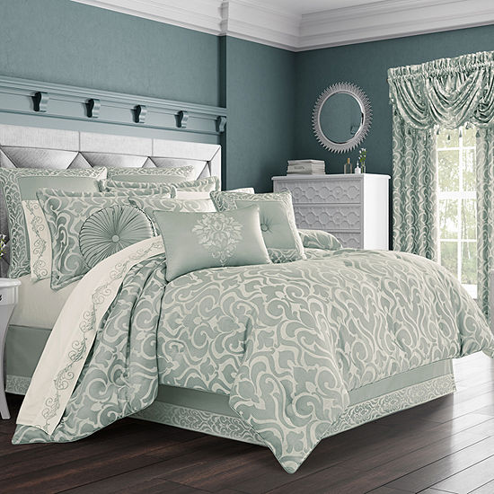 Queen Street Luther 4 Pc Damask Scroll Heavyweight Comforter Set