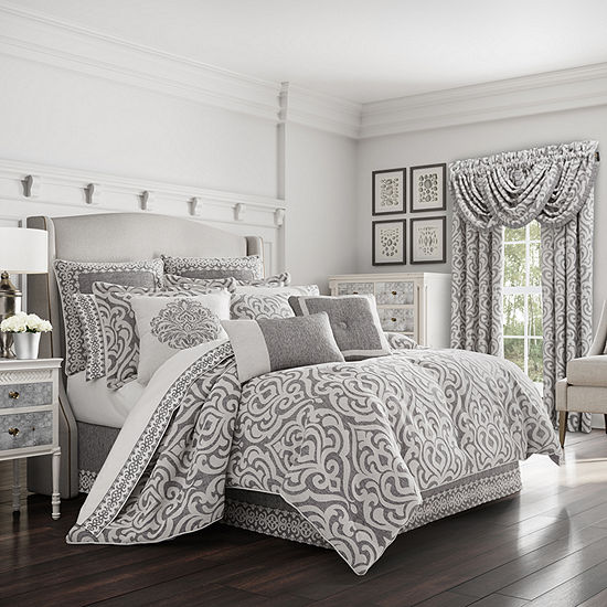 Queen Street Plymouth 4-pc. Damask + Scroll Heavyweight Comforter Set