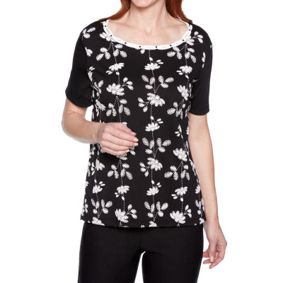 Alfred Dunner South Hampton Womens Scoop Neck Short Sleeve Layered Top
