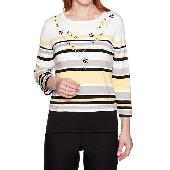 Alfred Dunner Womens Round Neck 3/4 Sleeve Striped Pullover Sweater