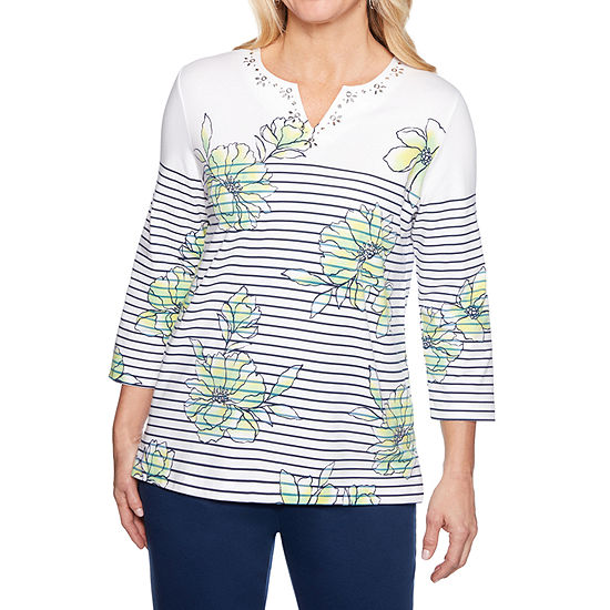 Alfred Dunner Womens Split Crew Neck 3/4 Sleeve T-Shirt