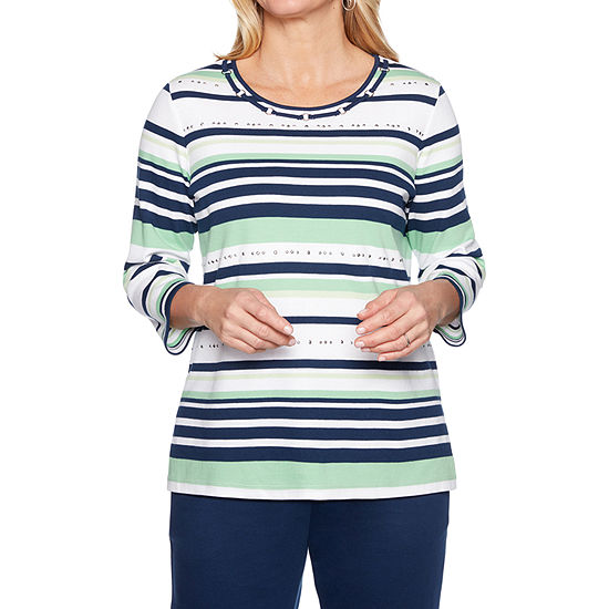 Alfred Dunner Cote D'Azure -Womens Crew Neck 3/4 Sleeve T