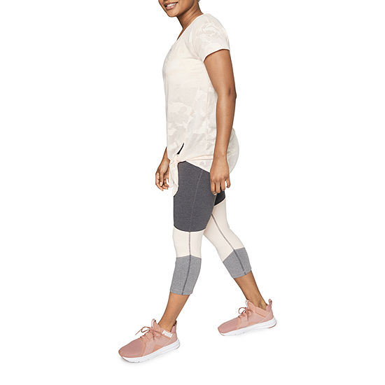 Xersion Assymetrical Blocked Mid Rise Workout Capris