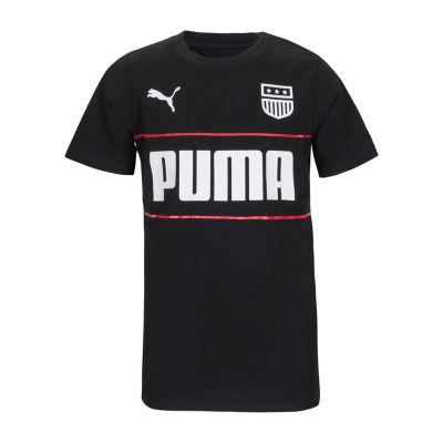 Puma Boys Round Neck Short Sleeve Graphic T-Shirt Preschool / Big Kid