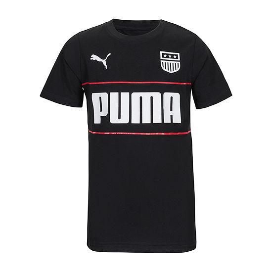 Puma Boys Round Neck Short Sleeve Graphic T-Shirt - Big Kid