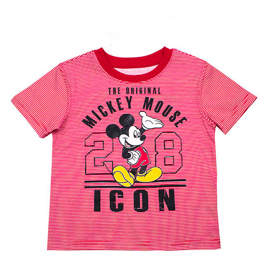 Disney Boys Crew Neck Short Sleeve Mickey Mouse T-Shirt-Toddler