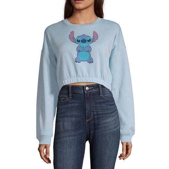 Womens Round Neck Long Sleeve Lilo & Stitch Sweatshirt Juniors