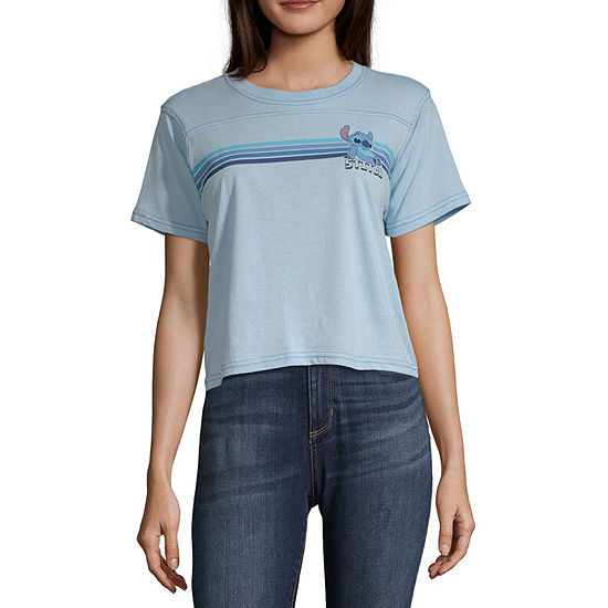 Disney Womens Round Neck Short Sleeve Lilo Stitch Graphic T Shirt Juniors