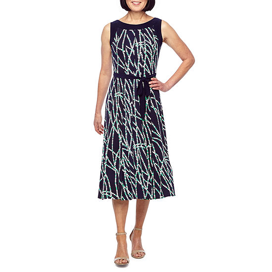 Perceptions Sleeveless Dots Puff Print Fit & Flare Dress
