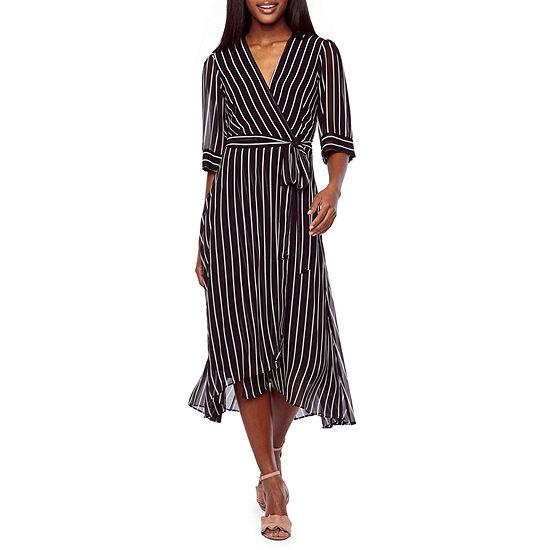 Danny Nicole 3 4 Sleeve Stripe Shirt Dress