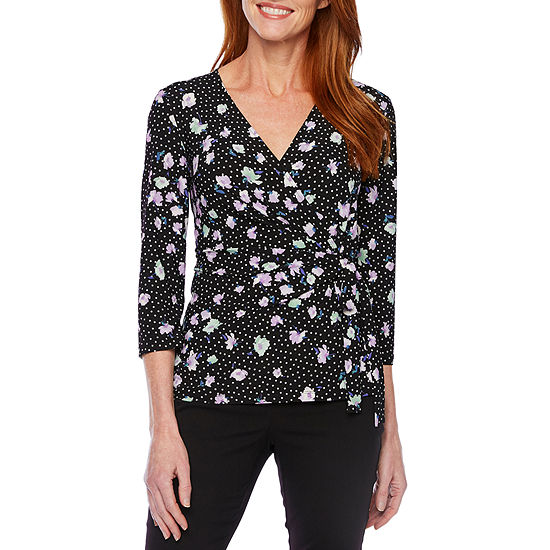Black Label by Evan-Picone Womens V Neck 3/4 Sleeve Floral Blouse