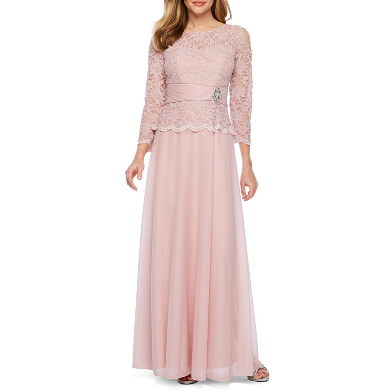 Edwardian Evening Gowns , Ballgowns, Formal Dresses Jackie Jon 34 Sleeve Embellished Evening Gown Womens Size 10 Pink $79.99 AT vintagedancer.com