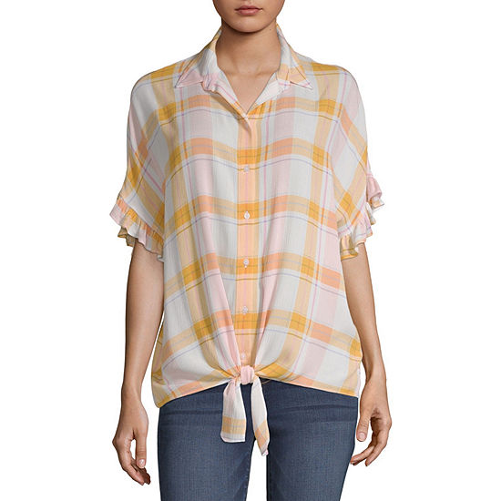 a.n.a Tie Front Ruffle Top - Tall