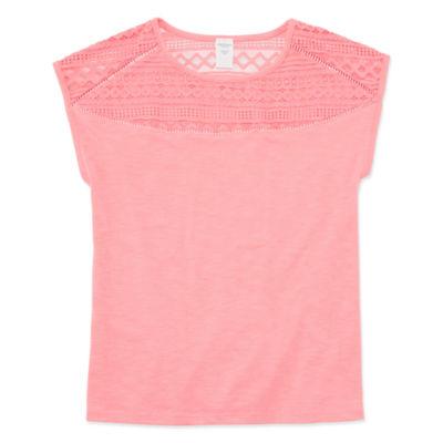 Arizona Girls Round Neck Short Sleeve Glitter T-Shirt-Preschool