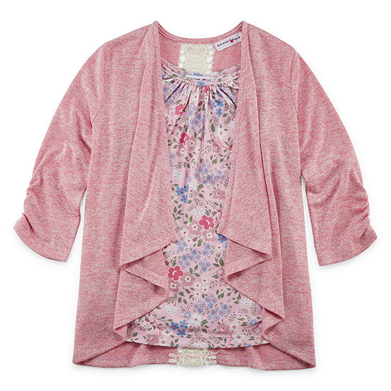 Knit Works Sweater Knit Cozies Girls Scoop Neck 3/4 Sleeve Layered Top Preschool / Big Kid