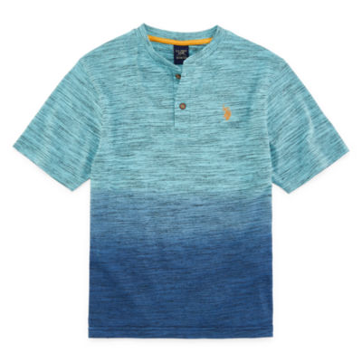 U.S. Polo Assn. Boys Short Sleeve Embroidered Henley Shirt Preschool / Big Kid