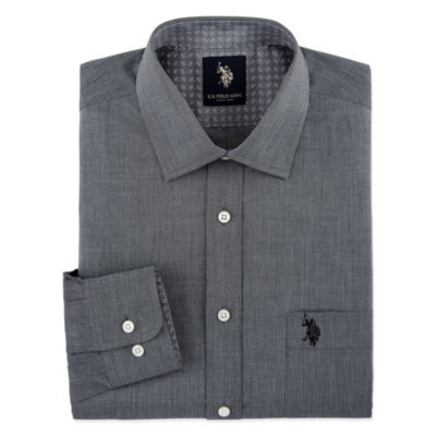 U.S. Polo Assn. End On End Solid Big And Tall Mens Spread Collar Long Sleeve Stretch Dress Shirt