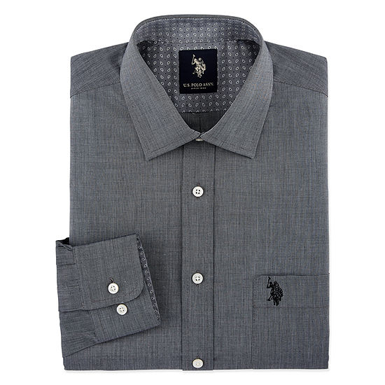 Us Polo Assn End On End Solid Mens Spread Collar Long Sleeve Stretch Dress Shirt Slim