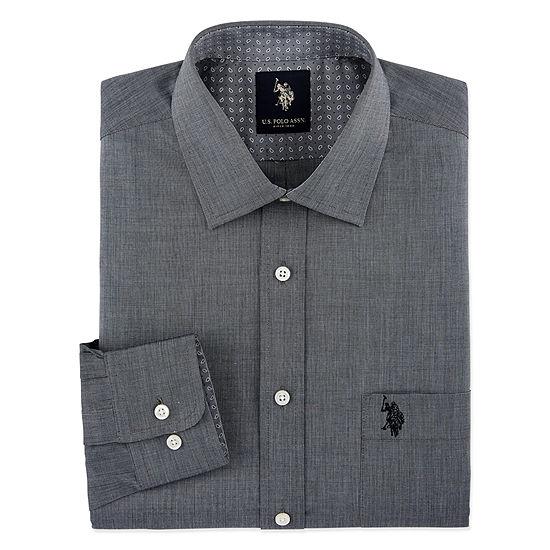 U.S. Polo Assn. - Slim End On End Solid Mens Spread Collar Long Sleeve Stretch Dress Shirt