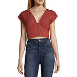 Society And Stitch Womens V Neck Short Sleeve Crop Top-Juniors