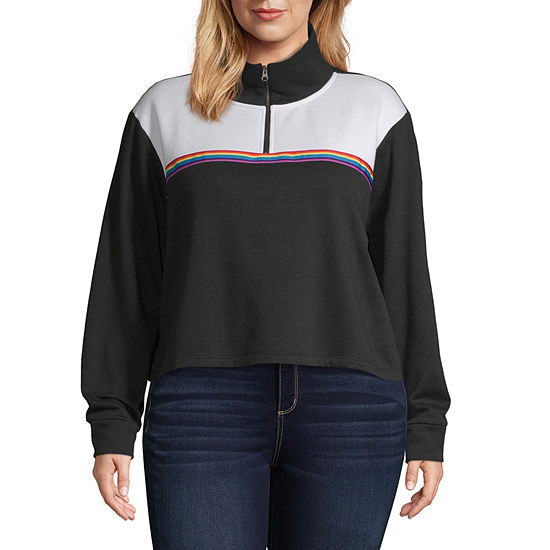 Flirtitude Juniors Plus Womens Mock Neck Long Sleeve Sweatshirt