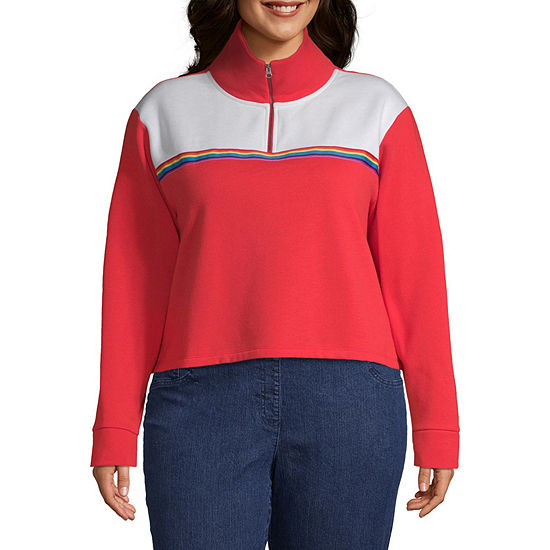 Flirtitude Womens Mock Neck Long Sleeve Sweatshirt Juniors Plus
