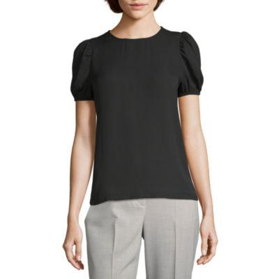 Worthington Womens Round Neck Short Sleeve Blouse