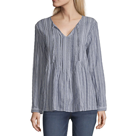 a.n.a Womens V Neck Long Sleeve Blouse