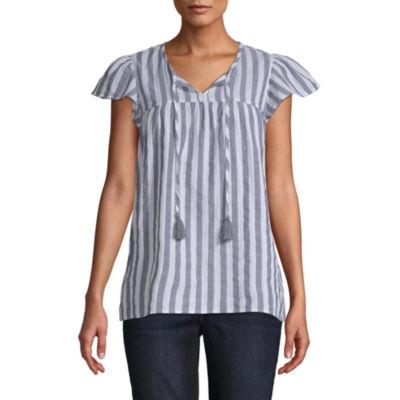St. John's Bay Womens Short Sleeve Peasant Top