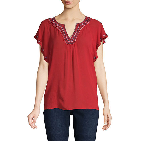 St. John's Bay Womens Split Crew Neck Short Sleeve Embroidered Peasant Top